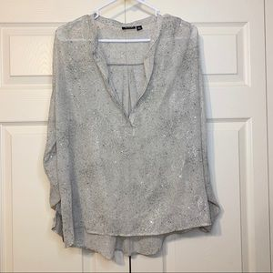 a.n.a petite sheer shimmer half button blouse